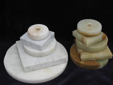Old stone marble lamp bases vintage lighting restoration parts mozeypictures