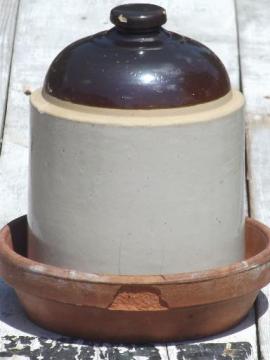 old stoneware crock jar chicken waterer, vintage chick waterer farm primitive