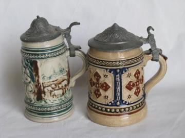 old stoneware pottery / pewter beer stein lot, vintage Germany, miniature steins