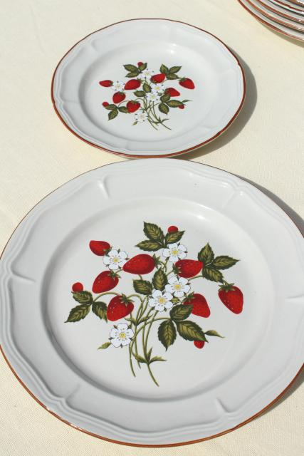 Old Strawberry Pattern 70s 80s Vintage Gibson Stoneware