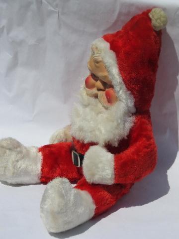 old stuffed toy santa claus doll w rubber face plush vintage christmas - Stuffed Santa Claus