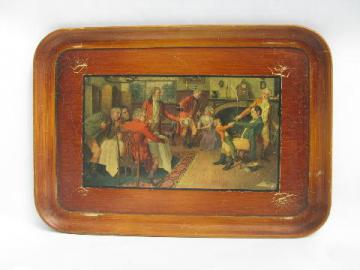 old tavern pub scene print tray, vintage wood composition or papier mache