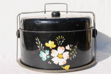 old tole metal cake cover carrier w/ hand painted flowers on black, vintage Ransburg
