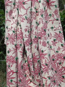 old turkey red print undyed cotton homespun wool filled whole cloth quilt