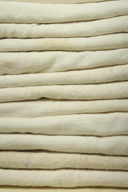 old unbleached cotton fabric feed sacks lot, assorted vintage flour sacks grain bags