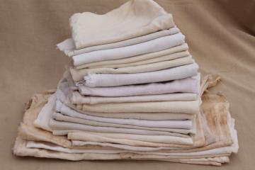 old unbleached cotton feedsack fabric, primitive grubby feed sacks mixed lot vintage grain bags