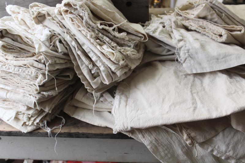 old unbleached natural cotton grain bags, feed sack fabric rustic farmhouse vintage