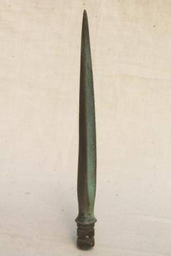old verdigris green copper point for antique lightning rod finial, spear head shape