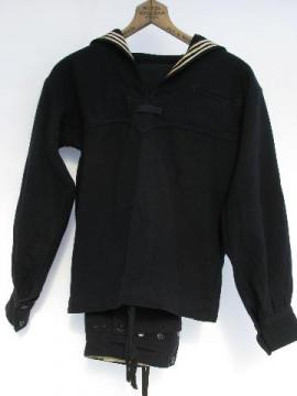 old vintage US Navy dress blues wool sailor's uniform w/ neck flap jumper