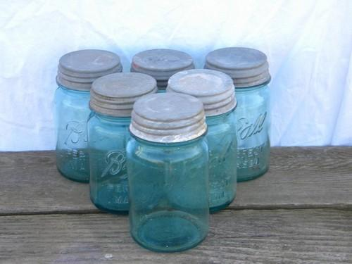 old vintage aqua blue green glass fruit jars lot, antique canisters, zinc metal lids