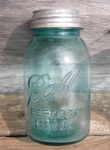 old vintage blue glass canning jars w/lids, Ball Perfect Mason lot of 2