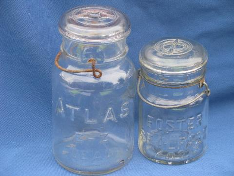 old vintage clear glass mason jars w/glass lids for storage canisters
