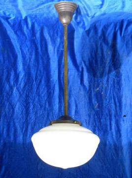 old vintage lighting pendant light with schoolhouse glass shade