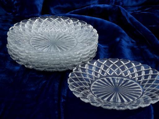 & old waffle pattern glass dessert set cake plates u0026 large serving plate
