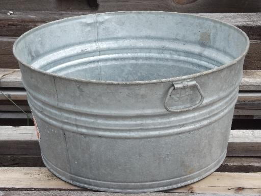 Old Wash Tub Galvanized Metal Washtub W Original Vintage