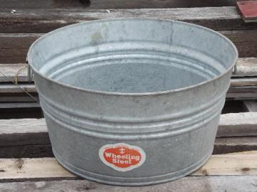 old wash tub galvanized metal washtub w/ original vintage Wheeling label