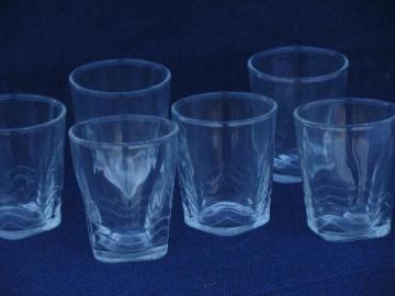 old wavy line wave border jelly jar glasses, vintage glass tumbler jars
