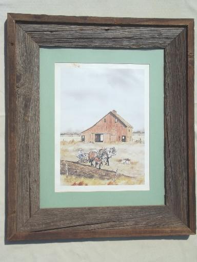 old weathered barn wood frame, large rustic  board poster / picture frame