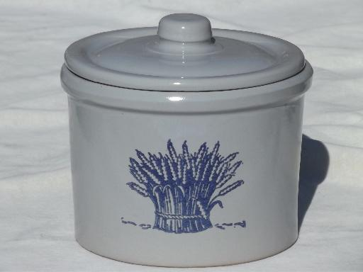 old wheat sheaf crock jar canister, blue wheat on grey stoneware pottery