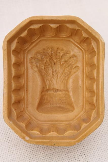 old wheat sheaf pattern yellow ware stoneware food mold for jelly, blancmange or pudding