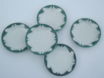 old white ironstone china butter pat plates, green airbrush restaurantware