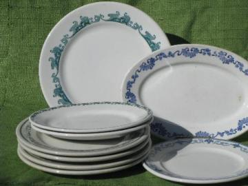 old white ironstone china plates and platters, borders in green, blue, aqua