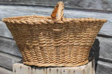 old wicker sewing basket, large mending basket to hold knitting or needlework