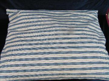 old wide stripe cotton ticking feather pillow