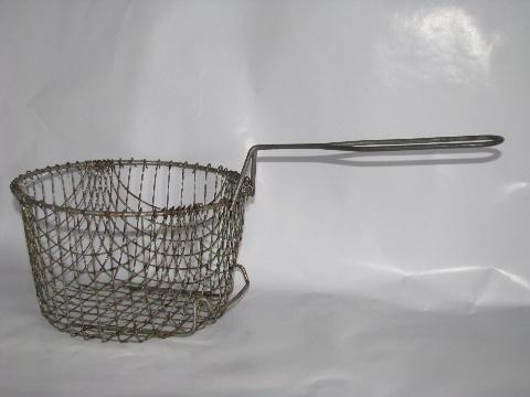 old wire fry baskets - one bowl, one w/ handle - vintage kitchenware