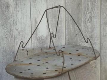 old wire handle metal rack to hold canning jars in vintage wash boiler tub