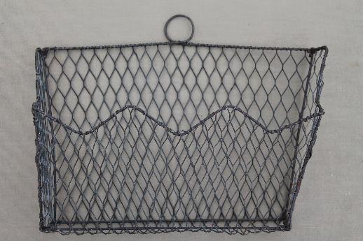 wirework wall rack letter holder, vintage wire basket wall pocket