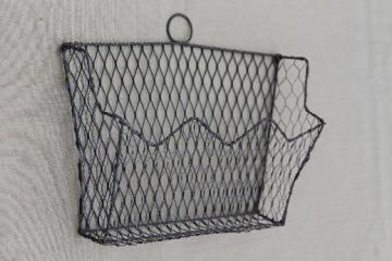 Old Wirework Wall Rack Letter Holder, Vintage Wire Basket Wall Pocket