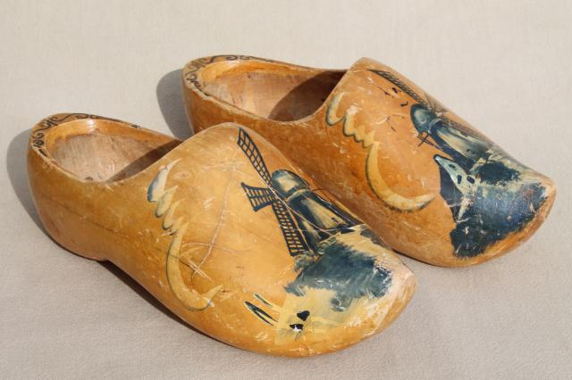 Old Wood Dutch Clogs Traditional Wooden Shoes W Delft