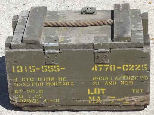 Old Wood Ammo Box W Rope Handle Lettered For Ammunition For Mortars