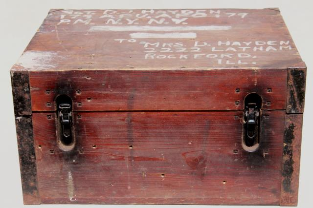 Old Wood Carpenter S Tool Box Primitive Chest Packing