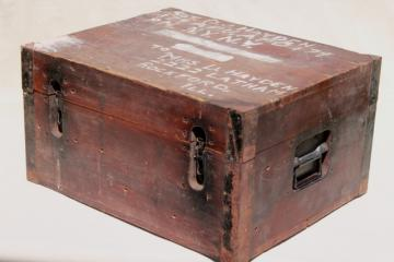 old wood carpenter's tool box, primitive chest packing case for machinist's tools, WWII vintage