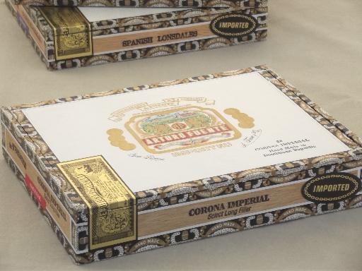 Old Wood Cigar Box Lot Wooden Cigar Boxes W Vintage Paper Labels