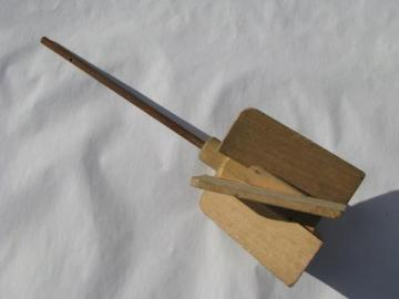 old wood paddle metal stirring rod, replacement dasher for Dazey butter churn