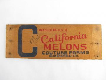 old wood plank board fruit crate label sign, California melons