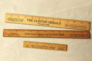 old wood rulers, 1950s vintage St Paul Minn & Clinton Iowa advertising