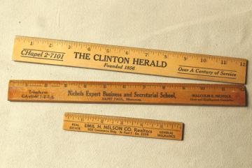 old wood rulers, 1950s vintage St Paul Minn & Clinton Iowa advertising