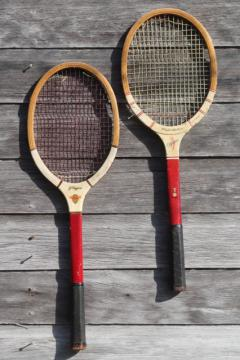 old wood tennis racquets rackets, mid-century vintage sporting equipment