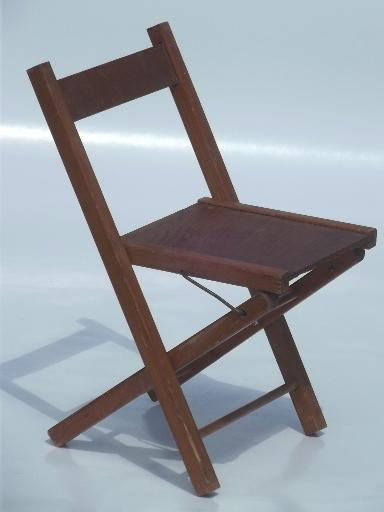 Gentil Old Wooden Folding Chair, Little Childu0027s Size Camp Seat, Vintage Wood Stool
