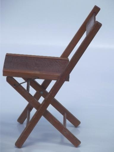 old wooden folding chair, little child's size camp seat, vintage wood stool
