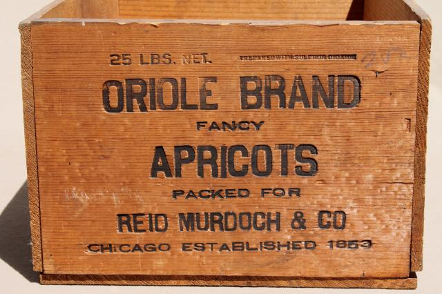 Old Wooden Fruit Crate Vintage Wood Packing Shipping Box For Oriole Apricots