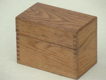 old wooden recipe box, vintage dovetailed wood index card file box