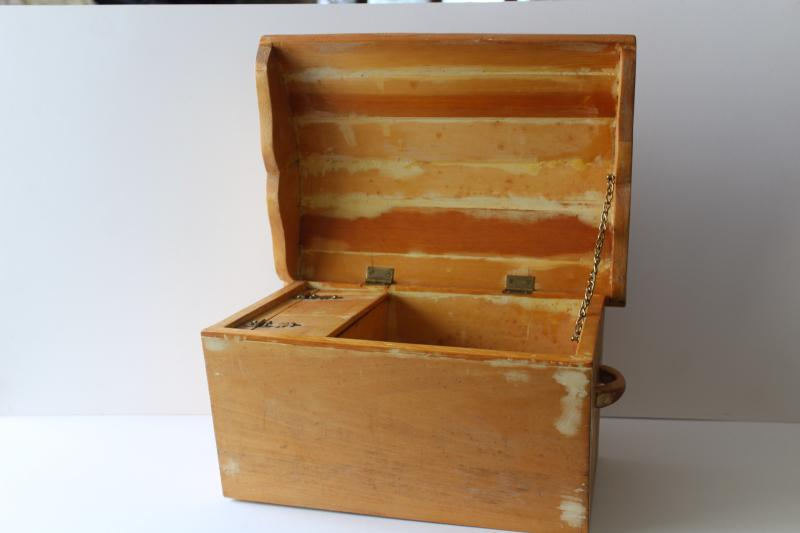 old wooden sewing box, doll size vintage wood dome top trunk w/ till