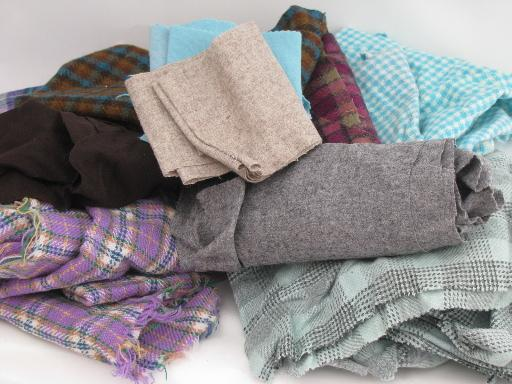 Old Wool Fabric Pieces Scraps Lot For Vintage Sewing