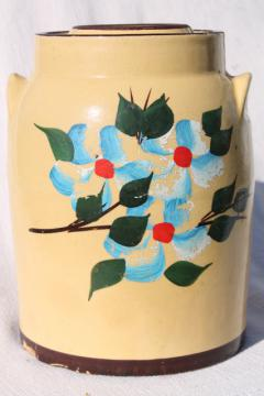 old yellow stoneware cookie jar crock, hand painted pottery 1930s 40s vintage