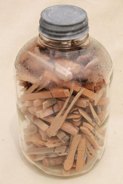 old zinc lid glass pickle jar and a gallon of vintage wood clothespins